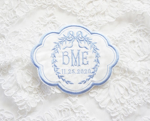 Custom Embroidered Wedding Dress Patch with Monogram