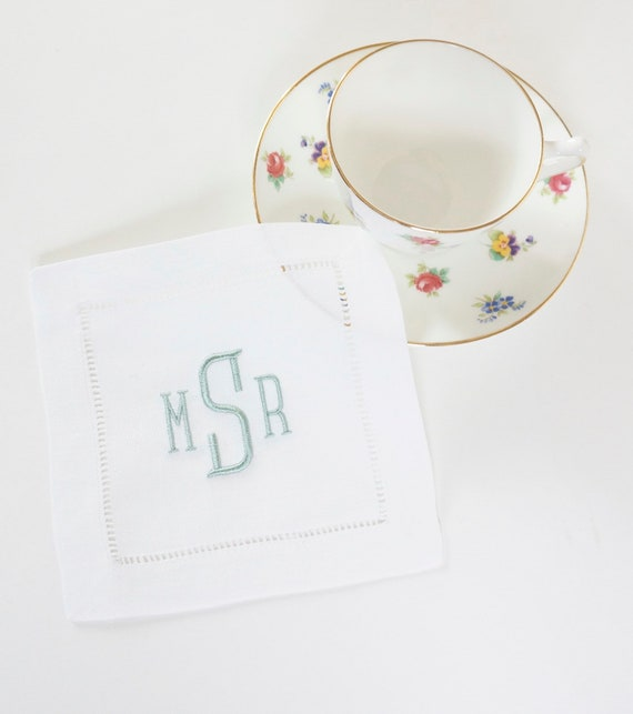 MONOGRAMMED COCKTAIL NAPKINS, Metro Font Style, 6 X 6 inch, Hostess Gift, Wedding Reception, Personalized Embroidered Linen Hemstitched