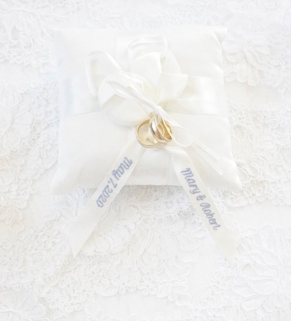 Custom Embroidered Ring Bearer Pillow in Ivory Satin with Bow