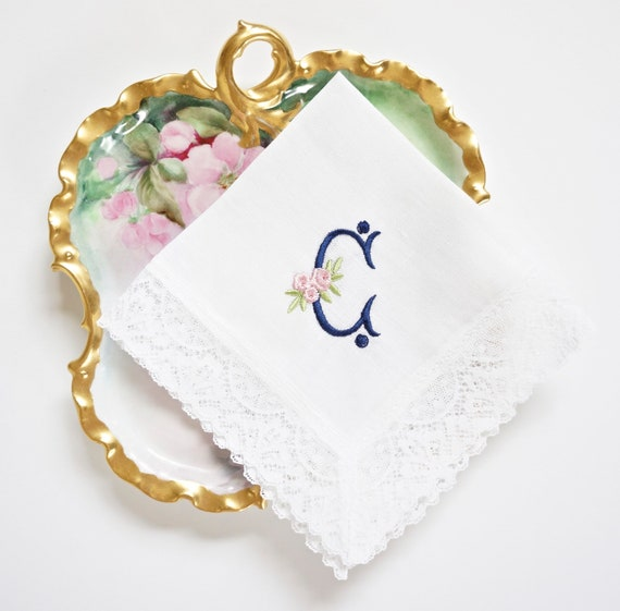 ROSE design and font Embroidered Monogrammed Handkerchief, Personalized Custom Handkerchief