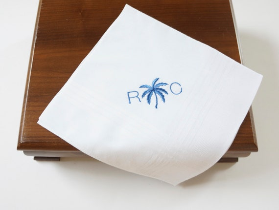 MEN'S PALM TREE Monogram Embroidered Pocket Squares, Dad Wedding Handkerchief | Father of the Bride Wedding Handkerchief | embroidered hanky