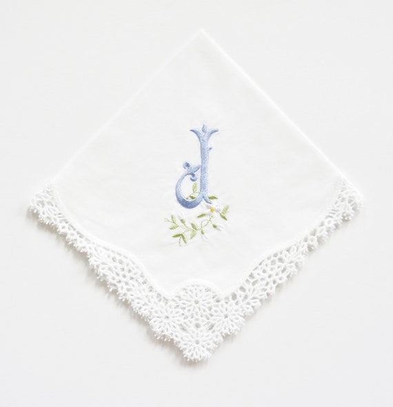 Fleur Monogram Embroidered on Daisy Handkerchief