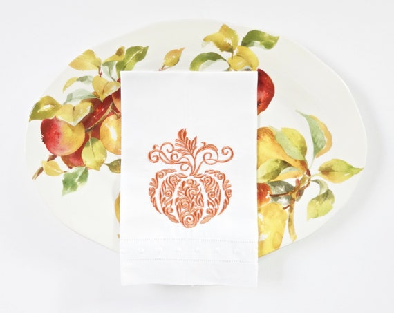 Harvest Pumpkin Embroidered Dinner Napkins and Linen Towels