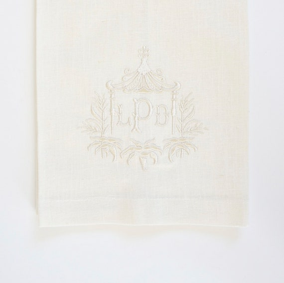 PAGODA II MONOGRAM Custom Embroidered Napkins, Linen Towels, wedding or hostess gift, bridal shower gift, Monogrammed Cotton Napkins