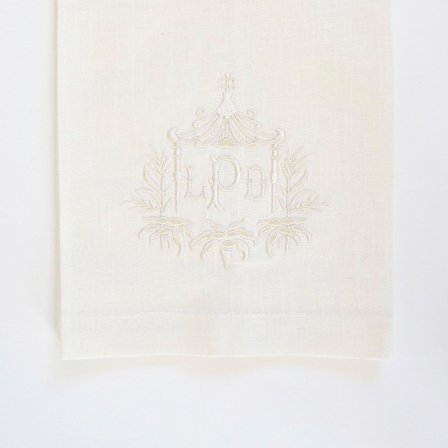 Pagoda Ii Monogram Custom Embroidered Cloth Napkins Linen Towels Wedding Or Hostess Gift Bridal Shower Gift Monogrammed Cotton Napkins