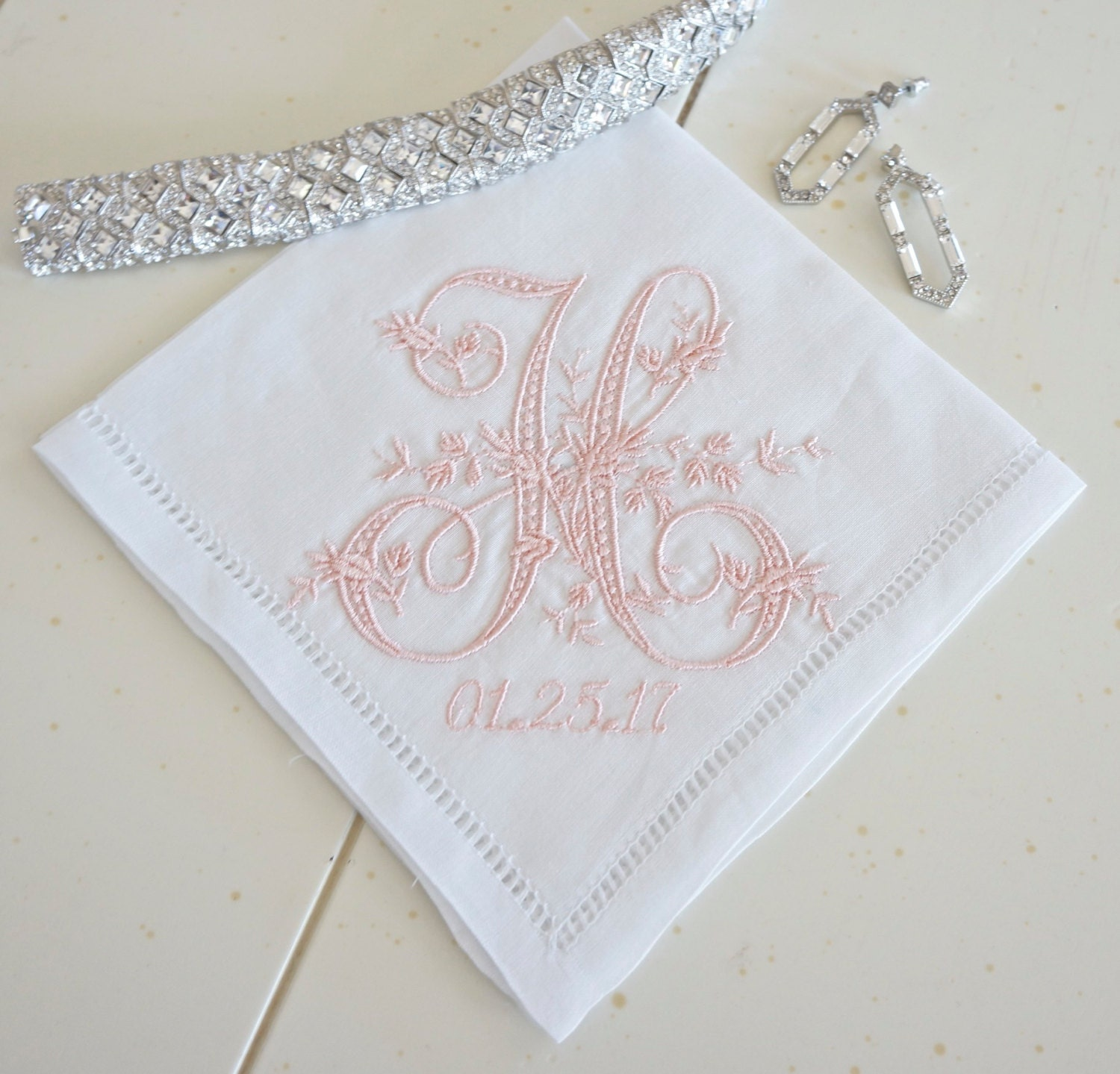 Bride Personalised Ladies Handkerchief Pretty Doves Design,Wedding