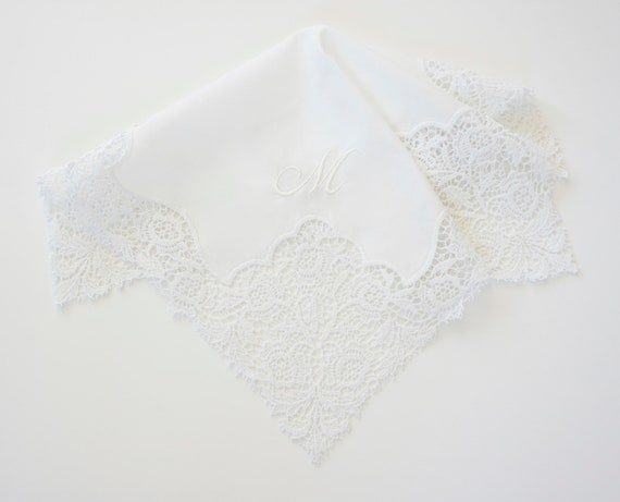 FRENCH INSPIRED LACE Ladies Handkerchief with Script Fonts Collection Monogram, Wedding, Bridal, Bespoke Gift, Mother of the Bride gift