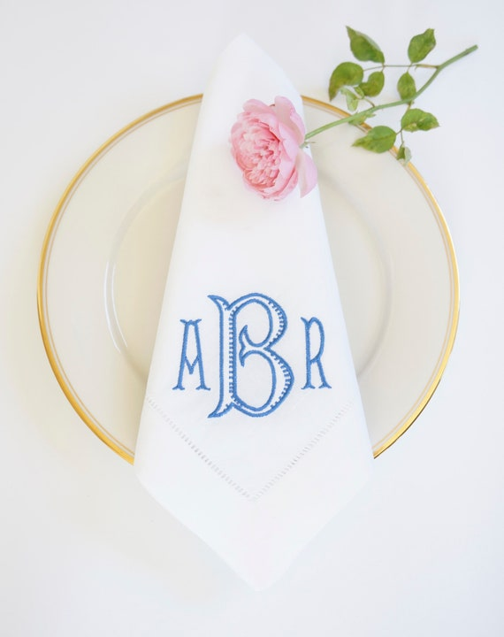 GARDEN PARTY MONOGRAM, Cloth Napkins, Garden Party Wedding Theme, Table Linens and Towels, Wedding Receptions