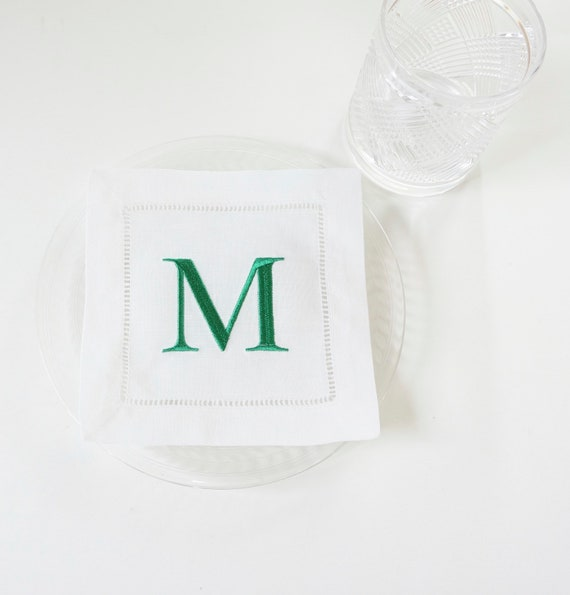 MONOGRAMMED COCKTAIL NAPKINS, Savile Row Font Style, 6 X 6 inch, Hostess Gift, Wedding Reception, Personalized Embroidered Linen Hemstitched