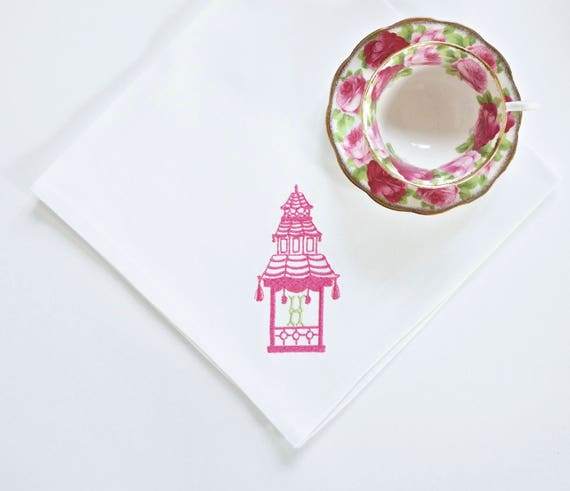 Pagoda III Monogram Embroidered Dinner Napkins and Hand Towels, wedding bridal shower or hostess gift, bath hand towel