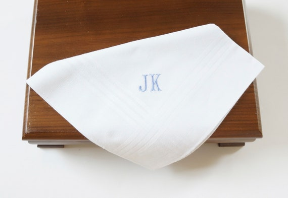 MENS CLASSIC font Embroidered Monogrammed Handkerchief