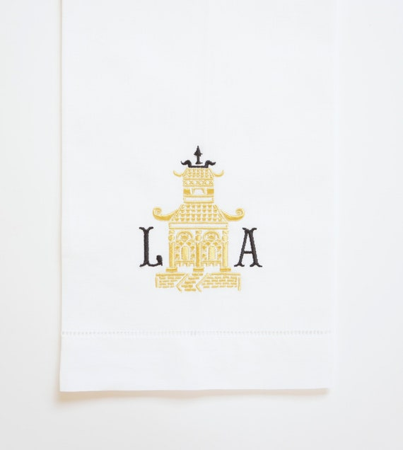 PAGODA I MONOGRAM Embroidered Towel and Napkins, wedding or hostess gift, kitchen and bath linens, bridal shower gift, kitchen towels