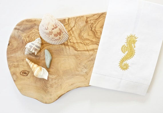 Sea Horse Embroidered Linen Towels and Napkins, wedding or hostess gift, kitchen and bath linens, bridal shower gift, kitchen towels