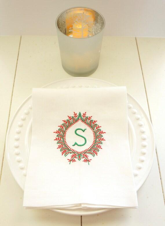 Monogram Frame Linen Towels, Monogrammed Embroidered 100% Linen or Linen Blend Hemstitched Towels