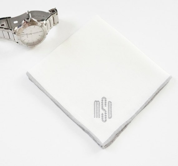 MENS CLASSIC OVAL Font Embroidered Monogrammed Handkerchief, wedding hankie