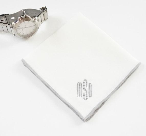 MENS MODERN SOPHISTICATE Font Embroidered Monogrammed Handkerchief, wedding hankie