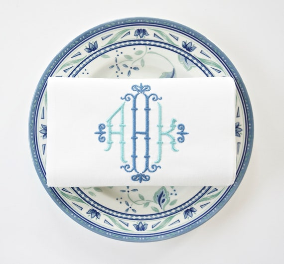 CHIPPENDALE MONOGRAM Embroidered Dinner Napkins, Linen Towels, wedding or hostess gift, bridal shower gift, kitchen towels