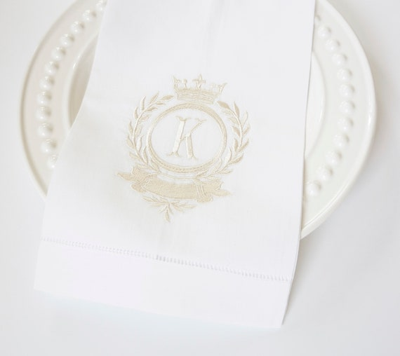 Laurel Wreath & Crown Monogram Design Embroidered Cloth Dinner Napkins, Hand Towels - Wedding Keepsake for Special Occasions
