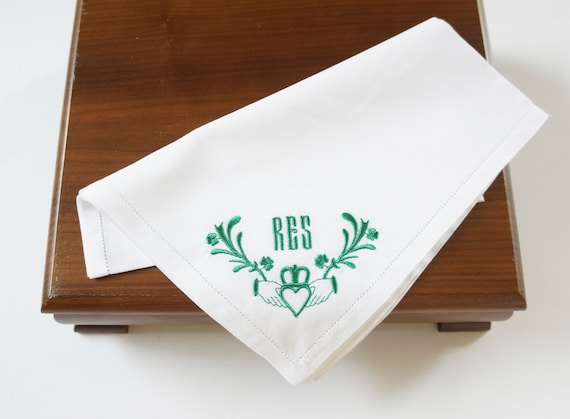 MENS CLADDAGH DESIGN and Monogram Embroidered Handkerchief and Pocket Square