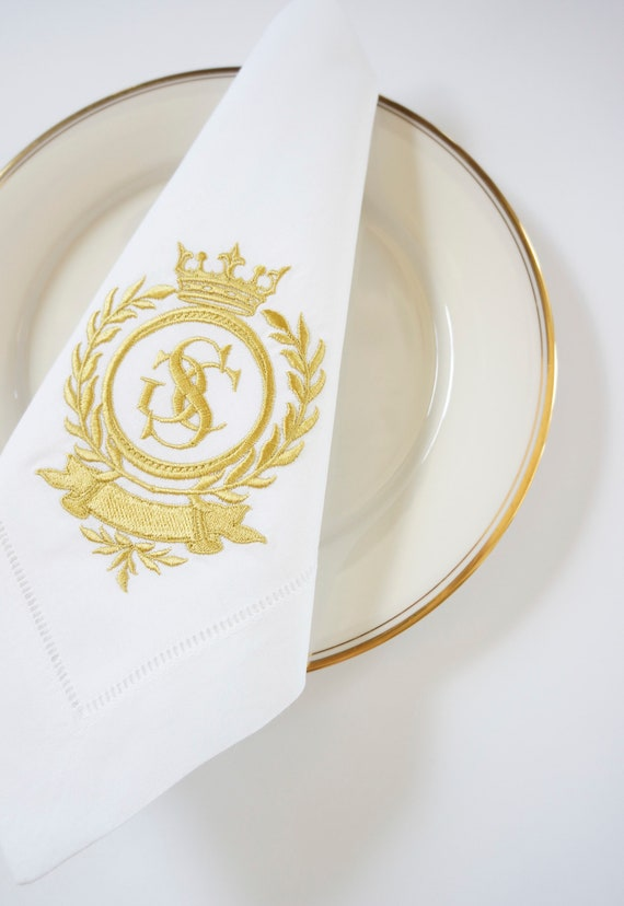Laurel Wreath & Crown Monogram Design Embroidered Dinner Napkins, Hand Towels - Wedding Keepsake for Special Occasions