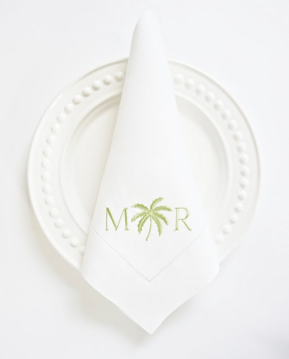 PALM TREE Monogram Embroidered Dinner Napkins, Linen Towels, wedding or hostess gift, bridal shower gift, kitchen towels
