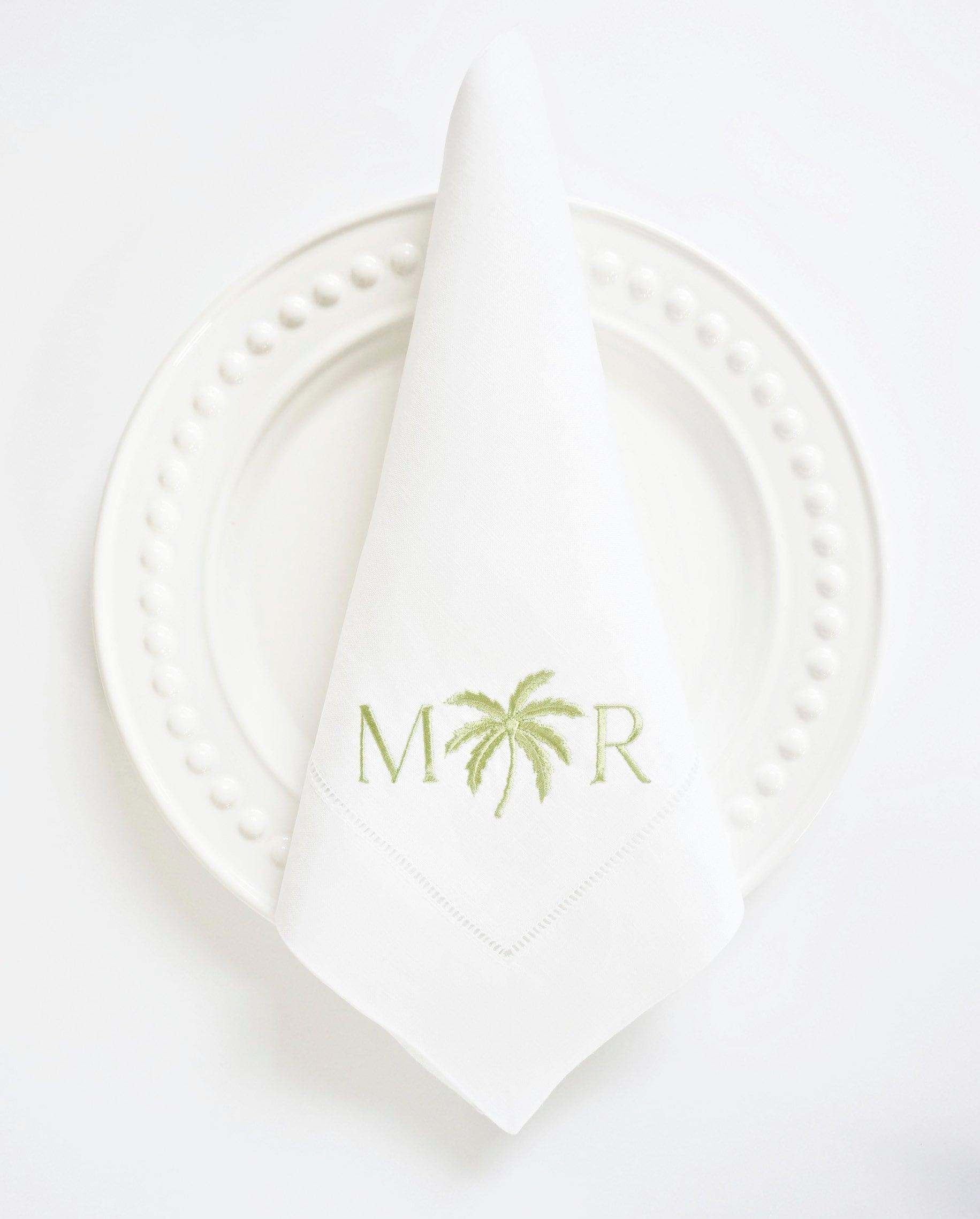 PALM TREE Monogram Embroidered Dinner Napkins, Linen ...