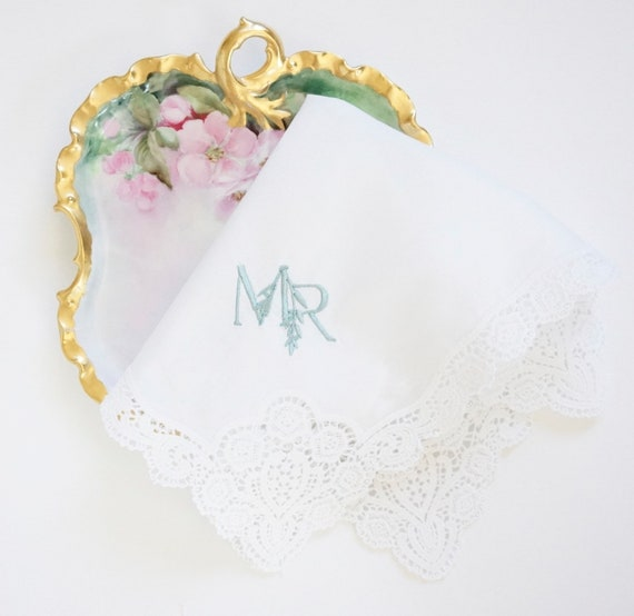 WEDDING LOGO MONOGRAM, Duogram for Wedding Handkerchiefs, featured on the Floral Lace Handkerchief