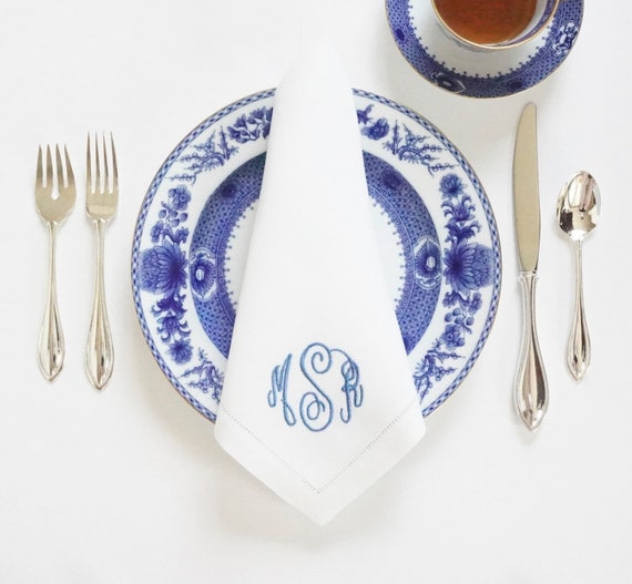 HAND WRITING MONOGRAM Font Embroidered on Fabric Cloth Napkins, Towels and Linens, Wedding Napkins