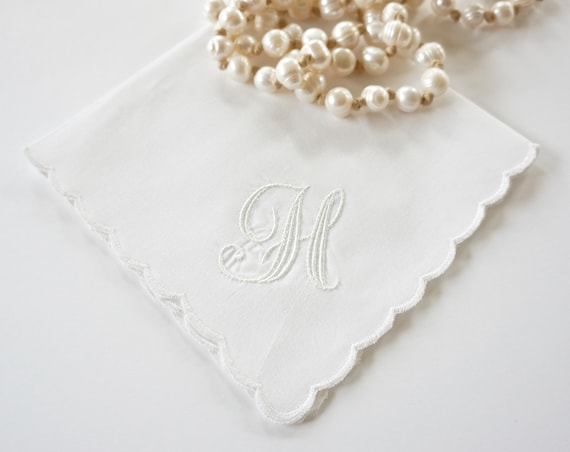 PARK AVENUE font Embroidered Monogrammed Handkerchief, Personalized Custom Handkerchief