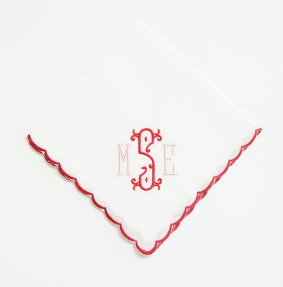 Valentine Monogram Font on Ladies Scalloped Picot Edge Handkerchief, Wedding Handkerchief