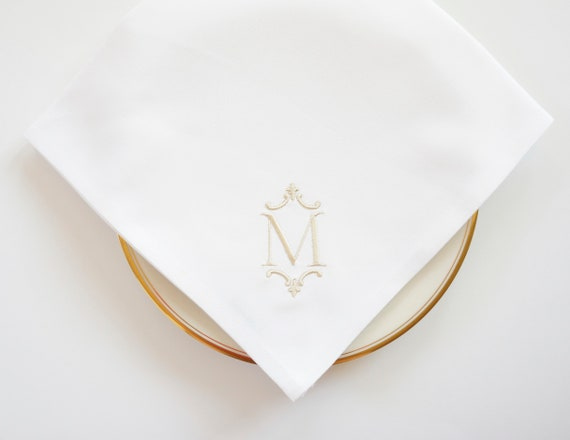TIMELESS FONT and FLEUR Monogram Embroidered Cloth Dinner Napkins and Guest Hand Towels - Wedding Keepsake for Special Occasions