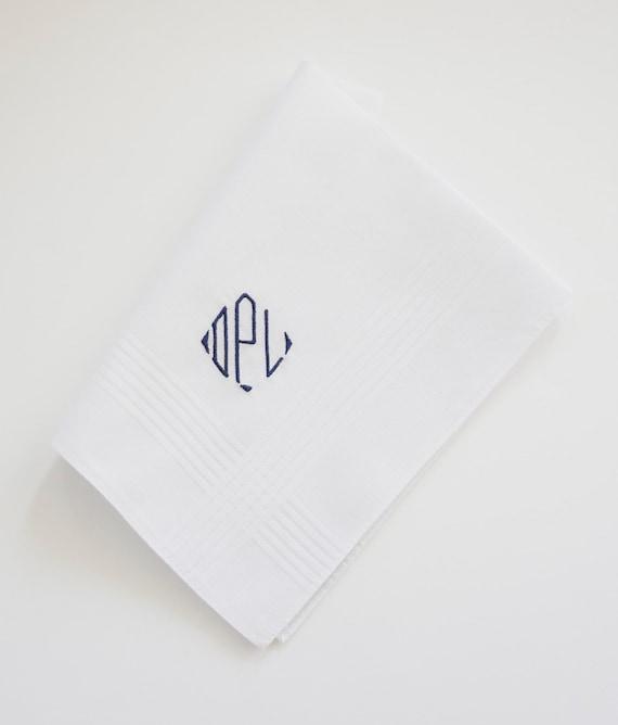 MENS CLASSIC DIAMOND Font Embroidered Monogrammed Handkerchief, wedding hankie
