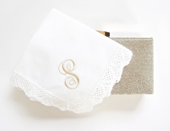 SCROLL I font Embroidered Monogrammed Handkerchief, Personalized Custom Handkerchief