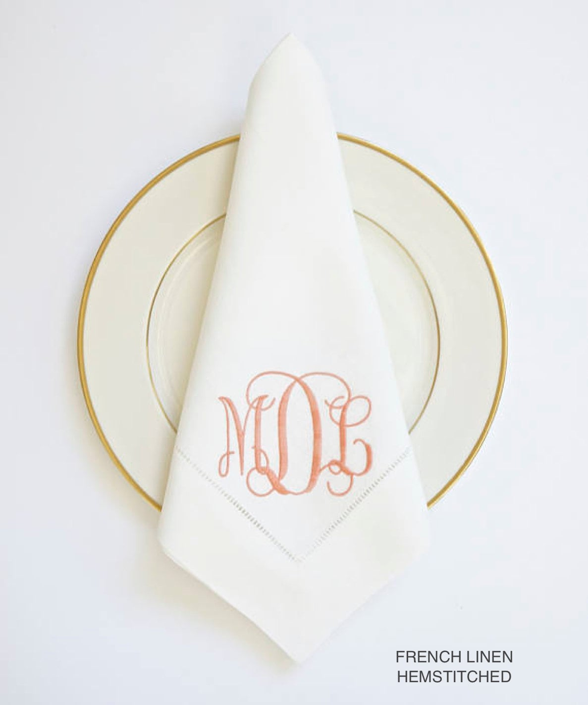 Embroidered Towels For Wedding Gift: Lace Monogram Embroidered Linen Dinner Napkins And Towels