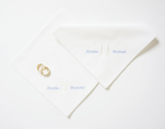 BRIDE & GROOM and SURNAME Initial Embroidered Monogram design for Bride or Groom on Cotton Handkerchief, Couples Wedding Handkerchief