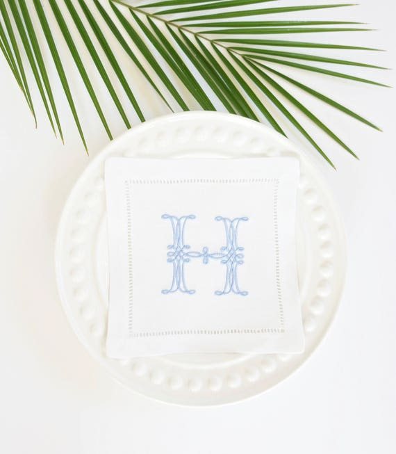 Lace Monogram Embroidered Linen Dinner Napkins and Towels, wedding or hostess gift, bridal shower gift, kitchen towels