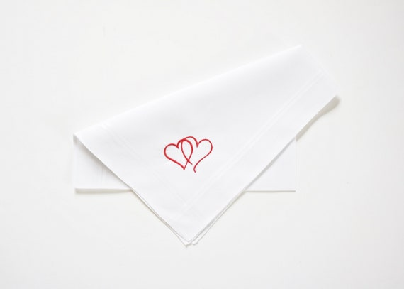 Two Hearts One Love, Two Hearts Together, Mens Embroidered Monogrammed Handkerchief, Wedding Handkerchief, Personalized Pocket Square