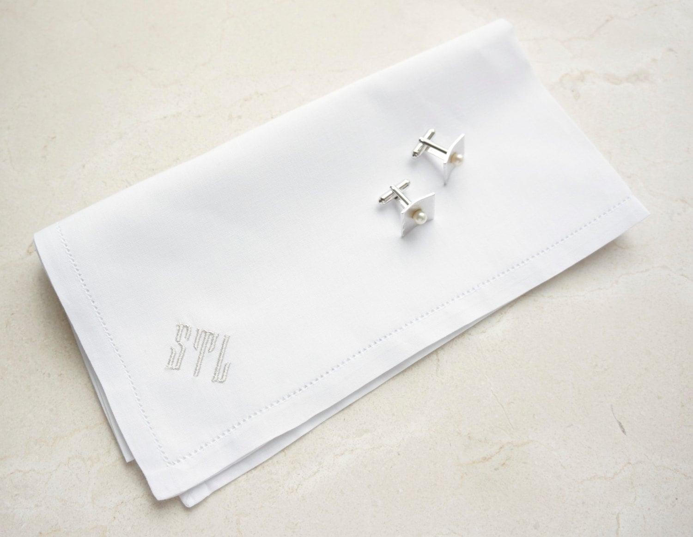 men u0026 39 s monogrammed handkerchief  irish linen or cotton handkerchief  pocket square  wedding