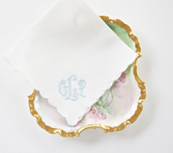 IRIS font Embroidered Monogrammed Handkerchief, Custom Wedding Hankie, mother of the bride or groom hankie,