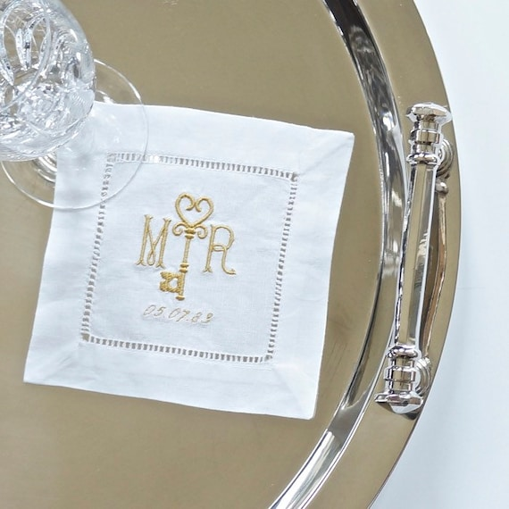 GOLD KEY MONOGRAM Embroidered Dinner Napkins, Linen Towels, wedding or hostess gift, bridal shower gift, kitchen towels