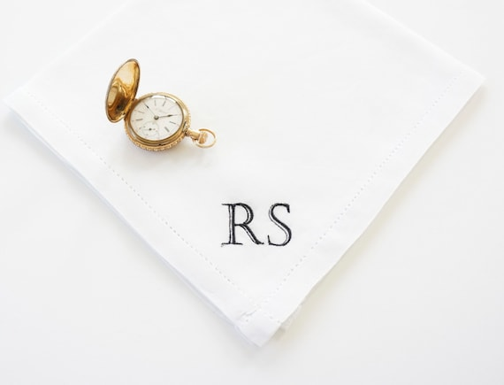 MENS BOOKPLATE font Embroidered Monogrammed Handkerchief, Father of the Bride Wedding Handkerchief | Gift for Dad | embroidered hankies