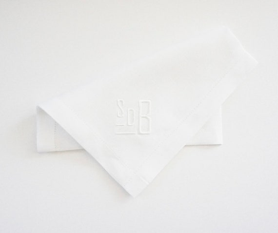 TUXEDO CUSTOM MONOGRAM, Contemporary Embroidered Monogrammed Mens Handkerchief, Weddings, Gifts, Three letter monogram