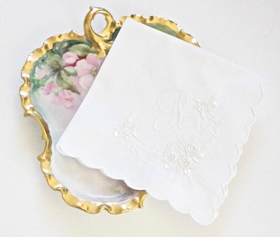 ROSE BUD Monogram Frame and font Embroidered Monogrammed Handkerchief, Personalized Custom Handkerchief
