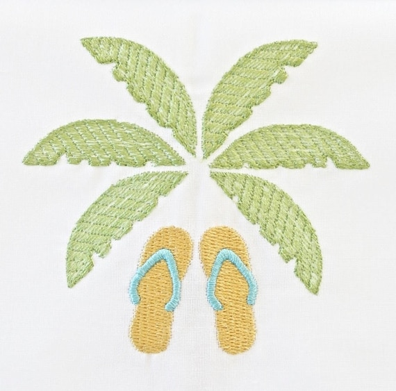 Palm Leaves and Sandals Embroidered Dinner Napkins and Hand Towels