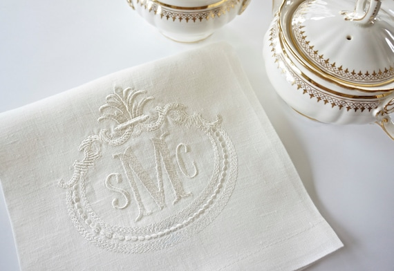 FRENCH ANTIQUE FRAME with Monogram Embroidered Dinner Napkins and Guest Bath Hand Towels - Wedding Keepsake for Special Occasions