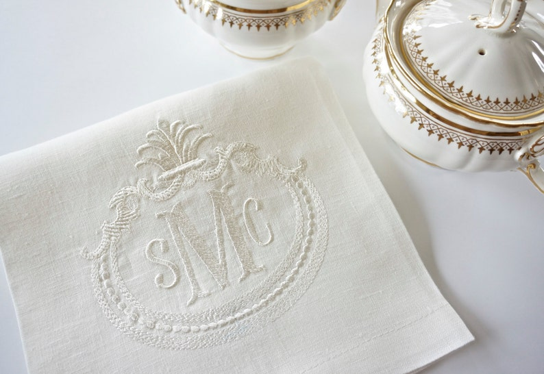 French Antique Frame With Monogram Embroidered Linen Napkins