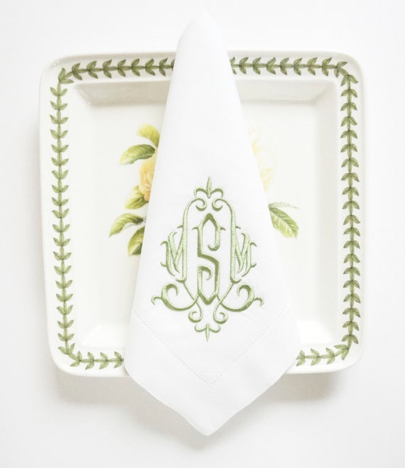 ELEGANT Monogram Embroidered Napkins and Linens