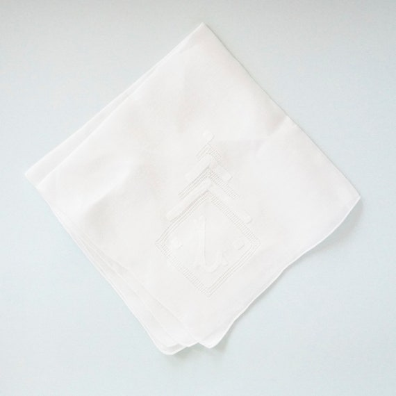 VINTAGE LACE Cotton Handkerchief, Monogram L