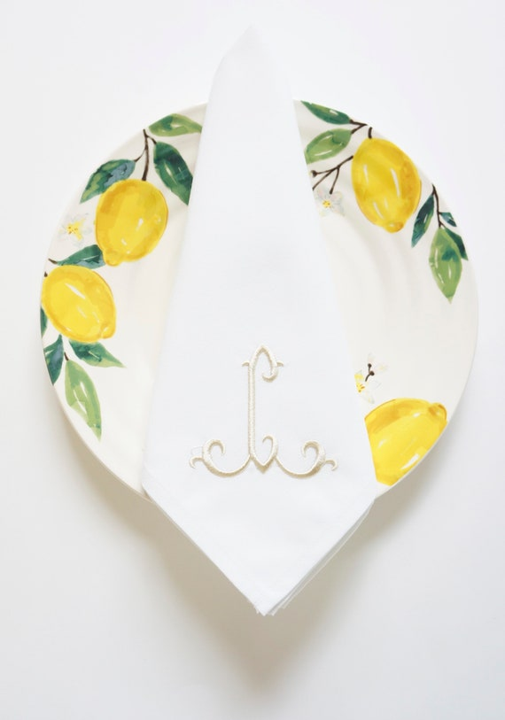 ELEGANT FONT as Single Letter Monogram, Embroidered Custom Cloth Napkins, Towels and Linens