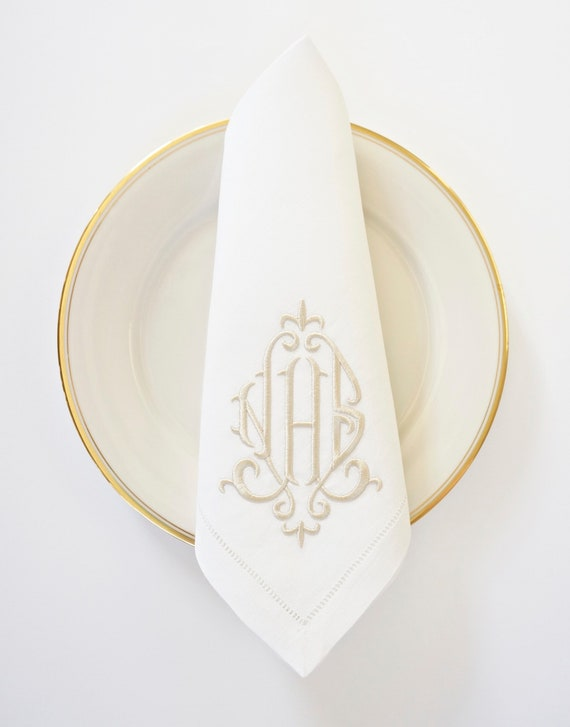 ELEGANT Monogram Embroidered Custom Cloth Napkins, Towels and Linens